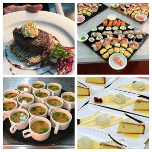 Clockwise from top left side picture: beef fillet on okonomiyaki, sushi and sashimi platter, Japanese castella sponge with matcha ice cream and yuzu curd and miso shot